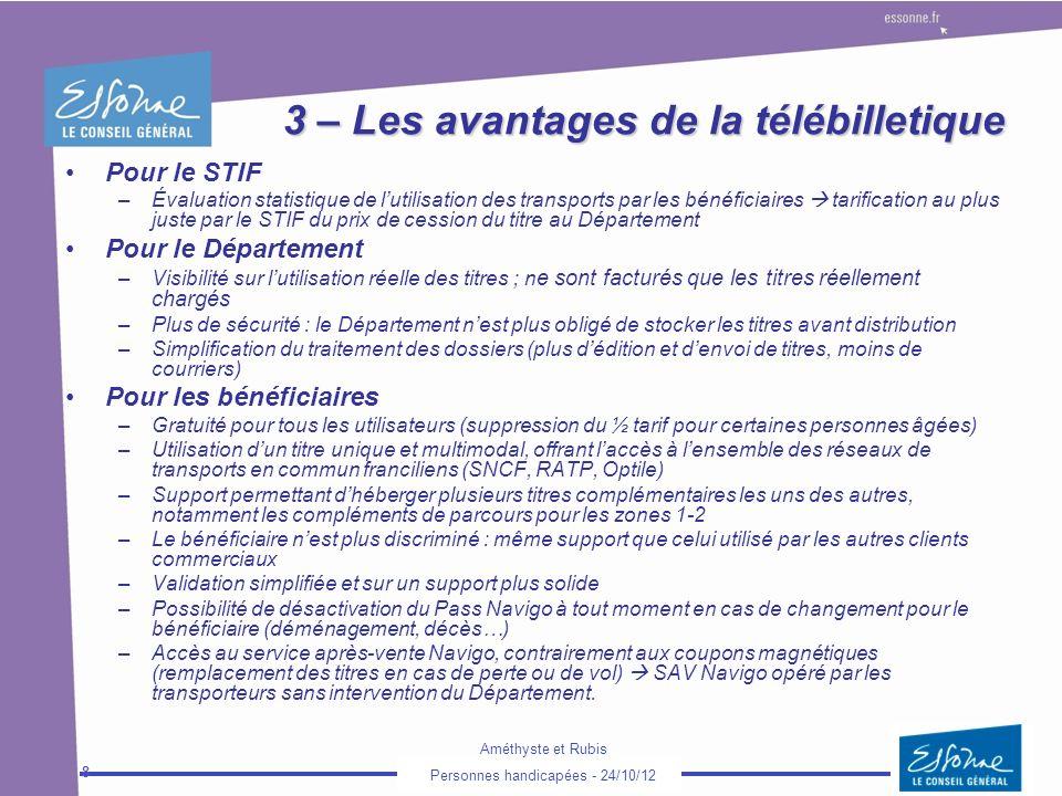 Améthyste et Rubis Personnes handicapées - 24/10/12 8 3 – Les avantages de la télébilletique Pour le STIF –Évaluation statistique de lutilisation des