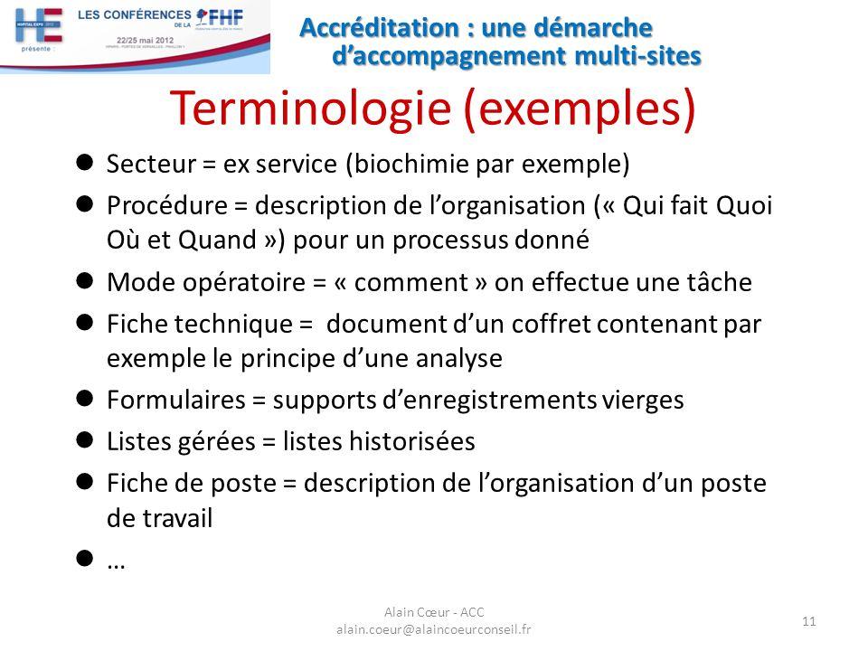 Accréditation : une démarche daccompagnement multi-sites 11 Alain Cœur - ACC alain.coeur@alaincoeurconseil.fr Terminologie (exemples) Secteur = ex ser