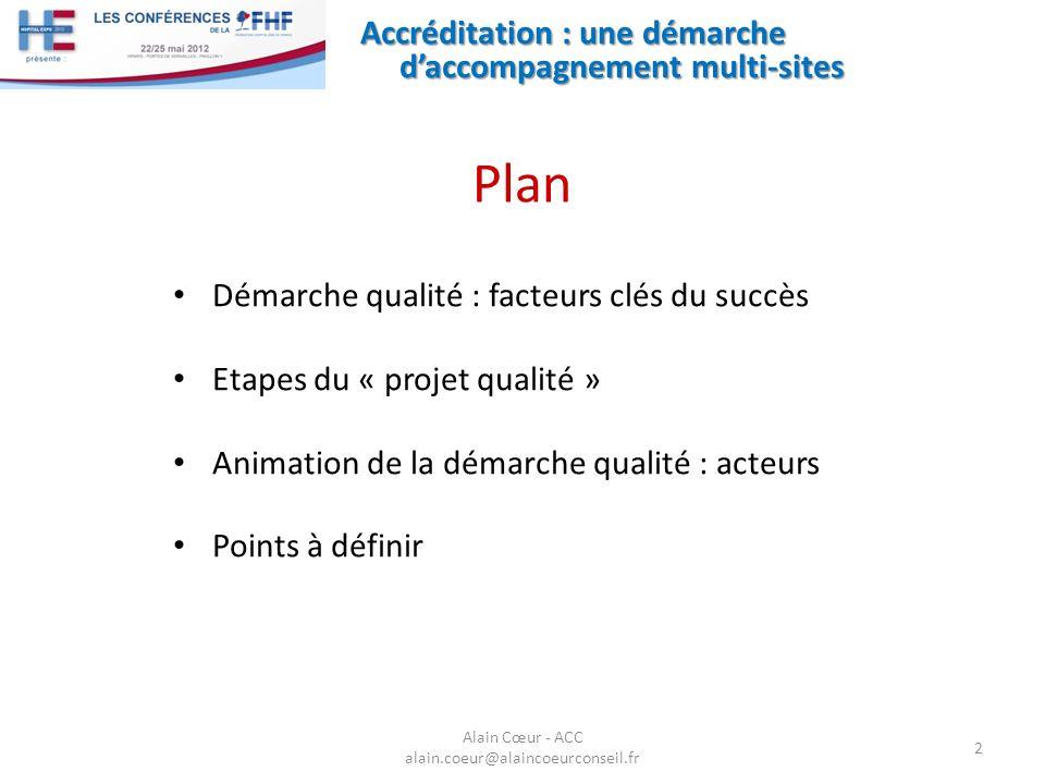 Accréditation : une démarche daccompagnement multi-sites 2 Démarche qualité : facteurs clés du succès Etapes du « projet qualité » Animation de la dém