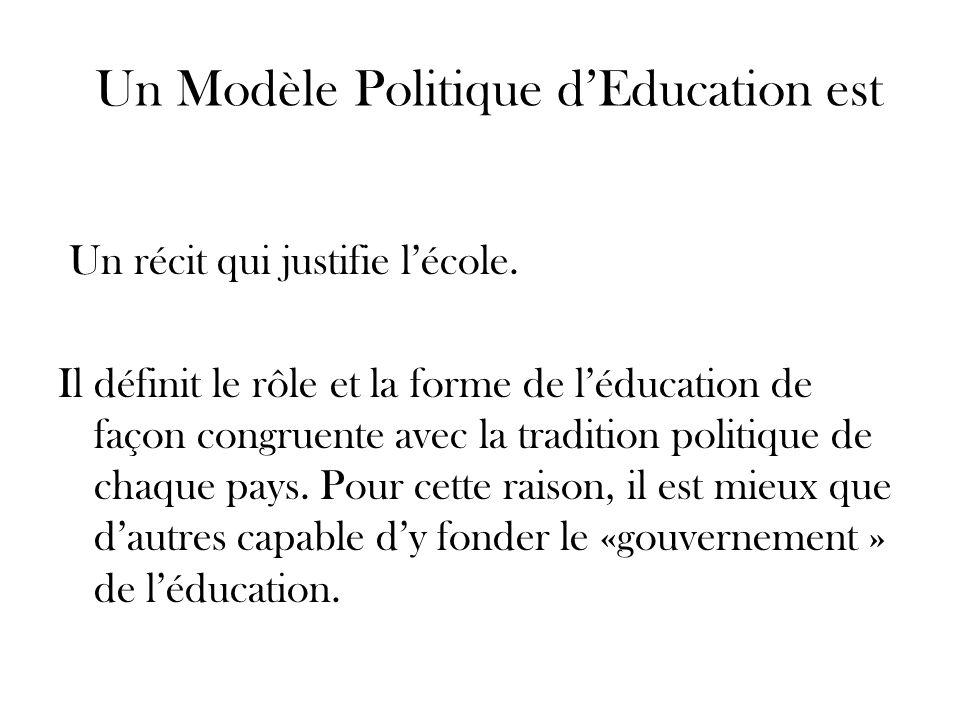 Un Modèle Politique dEducation est Un récit qui justifie lécole. Il définit le rôle et la forme de léducation de façon congruente avec la tradition po