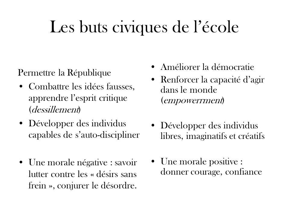 Les buts civiques de lécole Permettre la République Combattre les idées fausses, apprendre lesprit critique (dessillement) Développer des individus ca