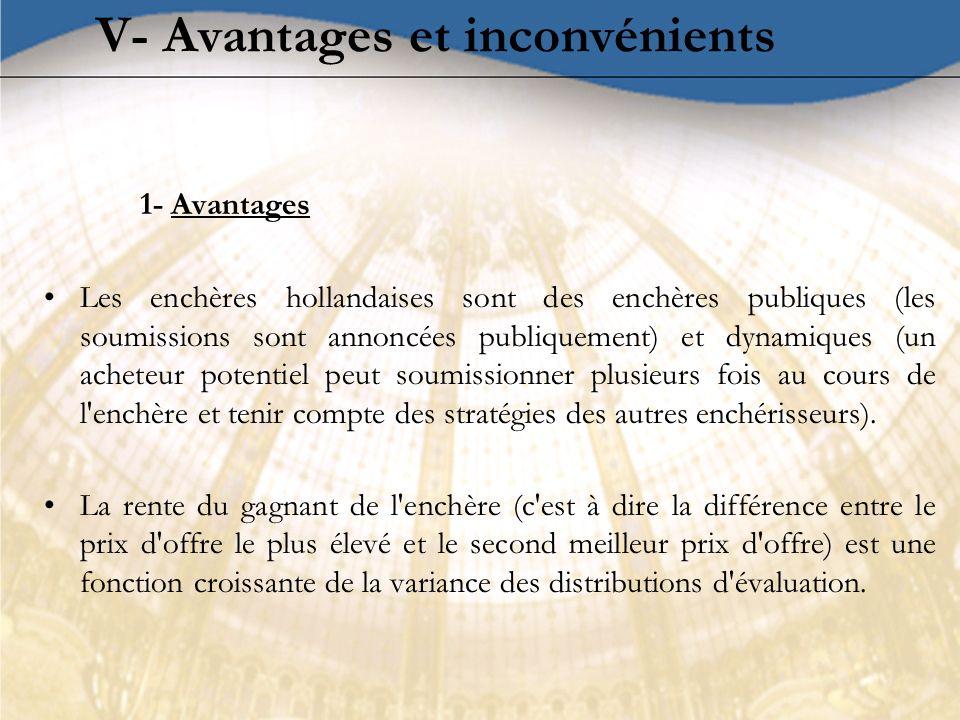 V- Avantages et inconvénients 1- Avantages Les enchères hollandaises sont des enchères publiques (les soumissions sont annoncées publiquement) et dyna