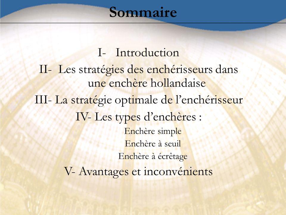 Sommaire I- Introduction II- Les stratégies des enchérisseurs dans une enchère hollandaise III- La stratégie optimale de lenchérisseur IV- Les types d