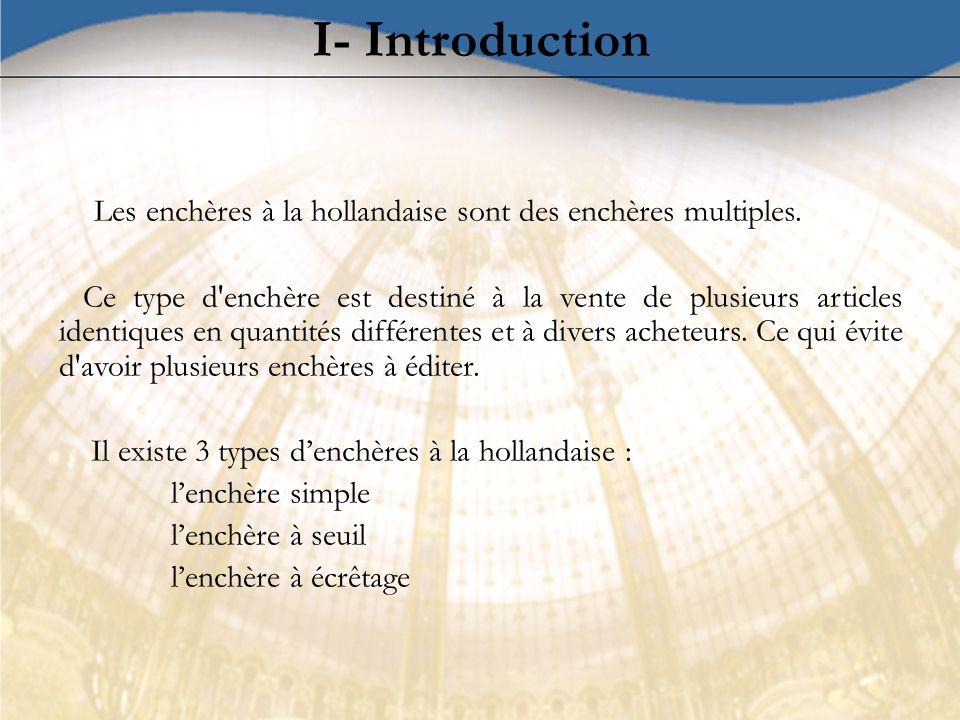 I- Introduction Les enchères à la hollandaise sont des enchères multiples. Ce type d'enchère est destiné à la vente de plusieurs articles identiques e