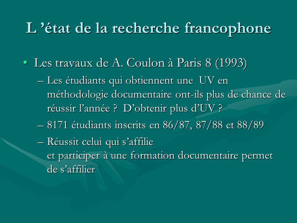 L état de la recherche francophone Les travaux de A.