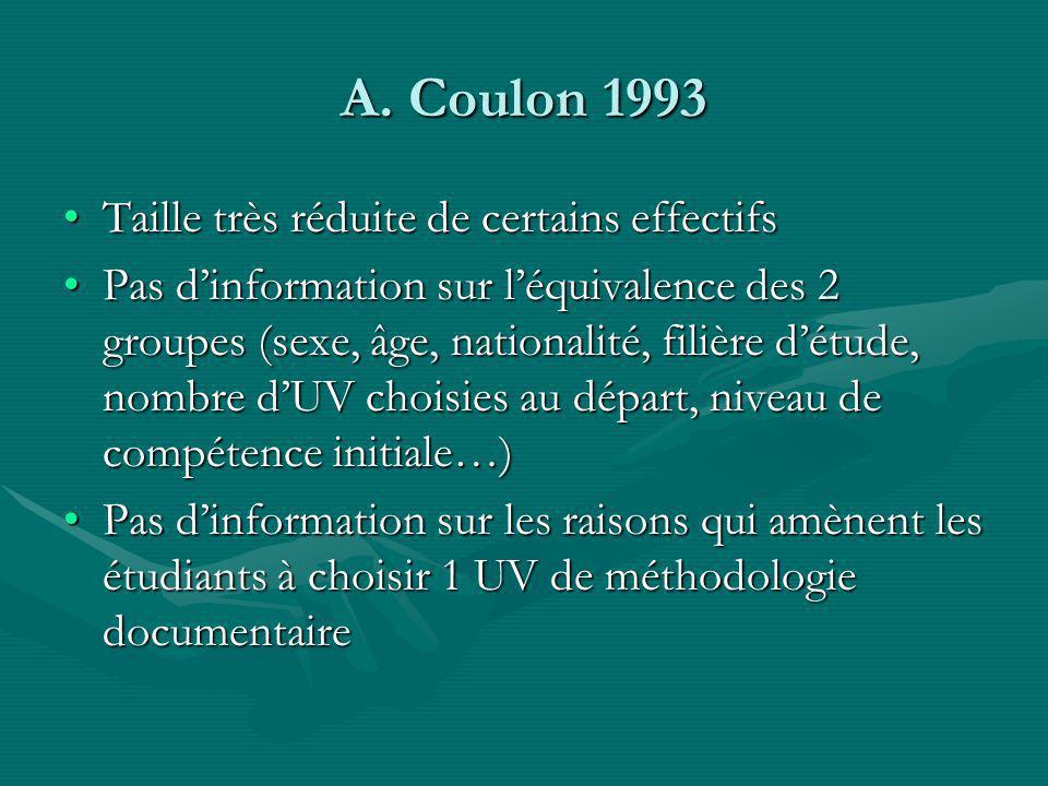 A. Coulon 1993 Taille très réduite de certains effectifsTaille très réduite de certains effectifs Pas dinformation sur léquivalence des 2 groupes (sex