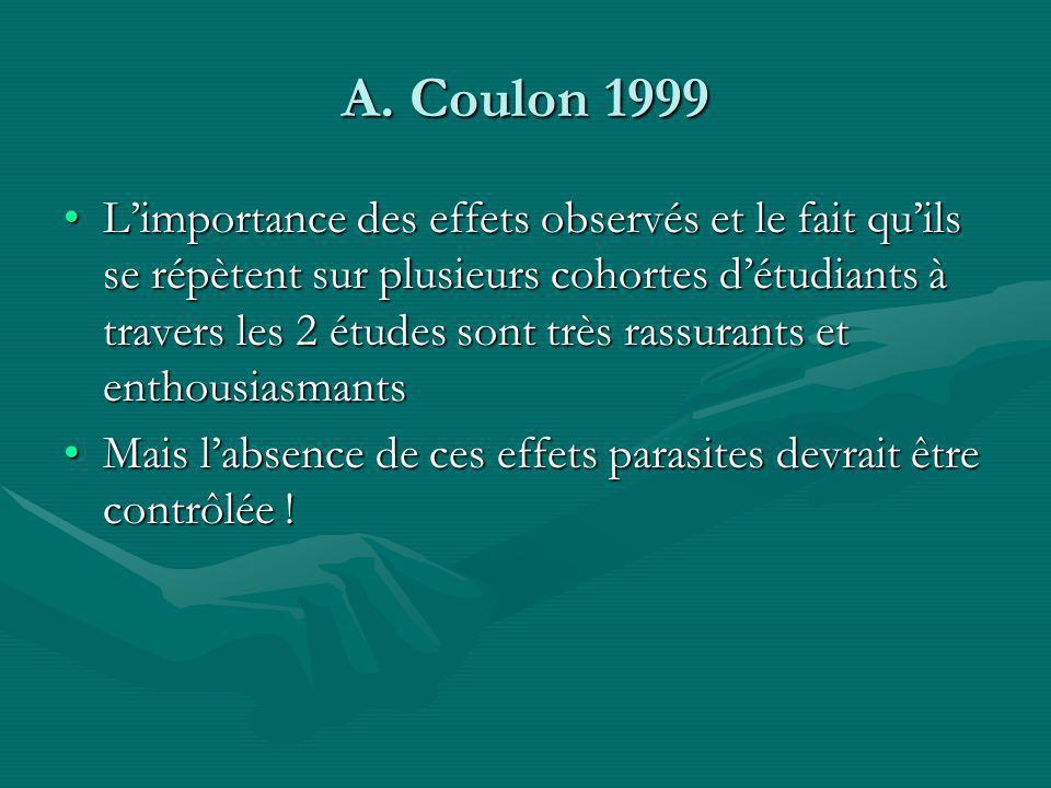 A. Coulon 1999 Limportance des effets observés et le fait quils se répètent sur plusieurs cohortes détudiants à travers les 2 études sont très rassura