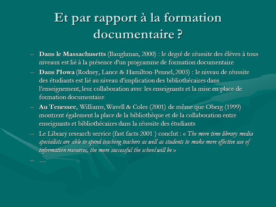 Et par rapport à la formation documentaire .