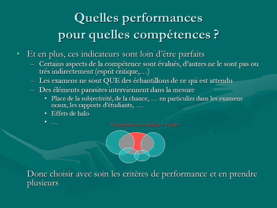 Quelles performances pour quelles compétences .