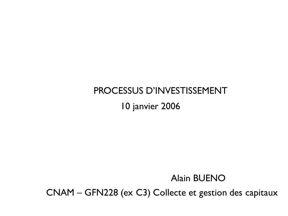 PROCESSUS DINVESTISSEMENT CNAM – GFN228 (ex C3) Collecte et gestion des capitaux 10 janvier 2006 Alain BUENO
