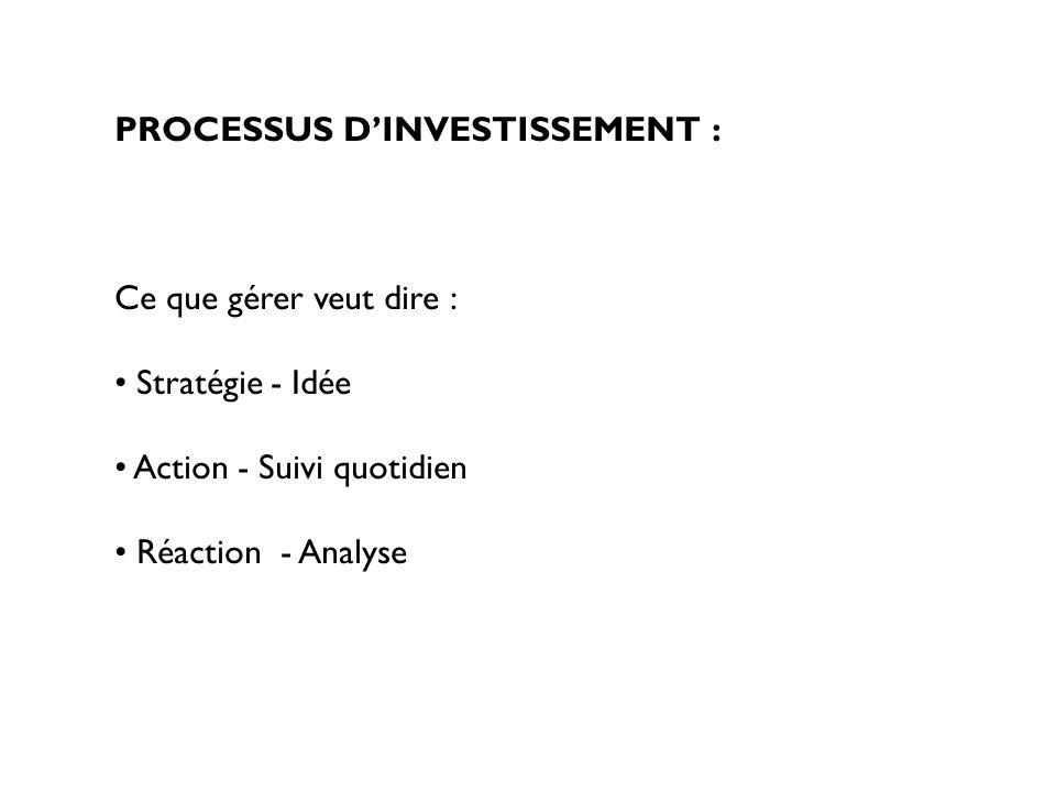 ACTION Gestion quotidienne Ratios fiscaux : Le ratio PEA (OPCVM éligible : 75% dactions françaises ou de pays appartenant à lUE – plus Norvège et Islande) Le ratio des 90% (report des +/- values d une année sur lautre pour les assureurs) Ratios réglementaires suivis par la COB - risque de contrepartie (5%-10%-20%-40%, 35%, 10% OTC, 15% prêt de titre) - risque de marché (ratio d engagement) - contrôle des liquidités (10%)