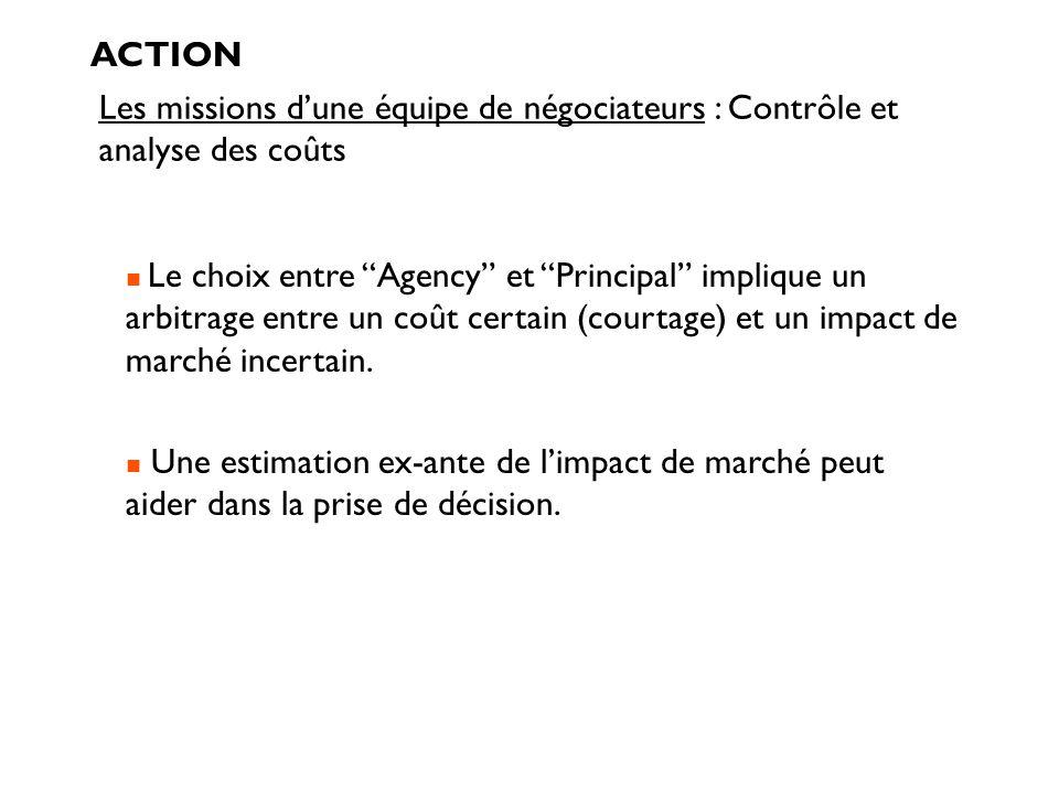 Les missions dune équipe de négociateurs : Contrôle et analyse des coûts ACTION Le choix entre Agency et Principal implique un arbitrage entre un coût