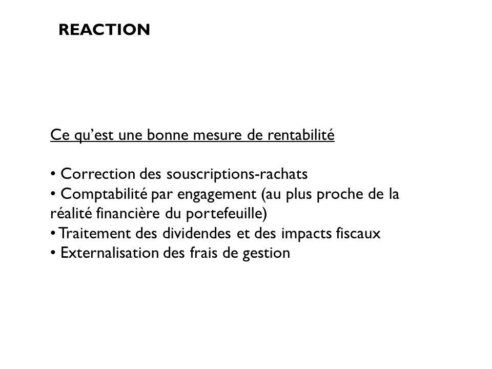 REACTION Ce quest une bonne mesure de rentabilité Correction des souscriptions-rachats Comptabilité par engagement (au plus proche de la réalité finan