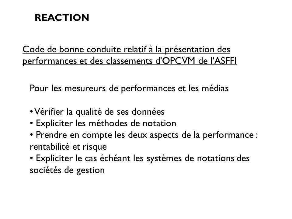 REACTION Code de bonne conduite relatif à la présentation des performances et des classements d'OPCVM de l'ASFFI Pour les mesureurs de performances et