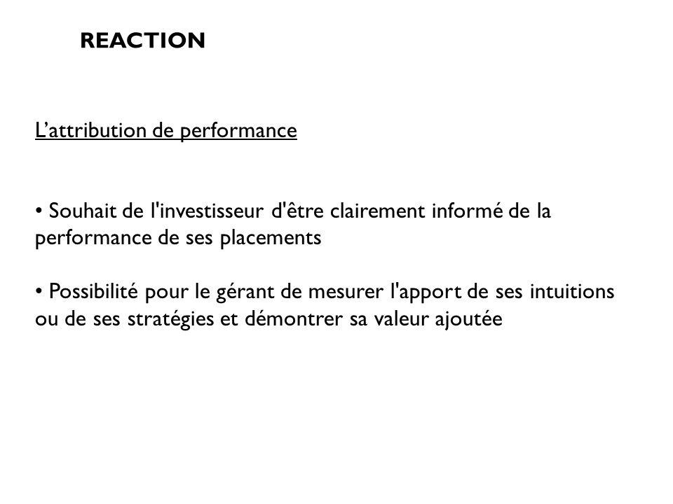 REACTION Lattribution de performance Souhait de l'investisseur d'être clairement informé de la performance de ses placements Possibilité pour le géran