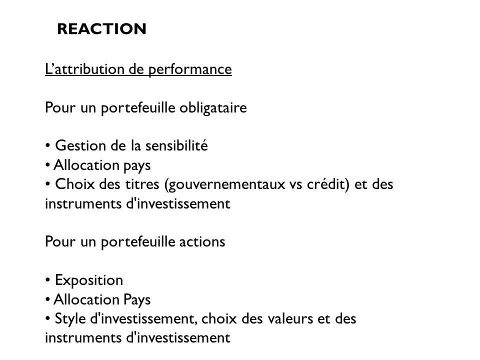 REACTION Lattribution de performance Pour un portefeuille obligataire Gestion de la sensibilité Allocation pays Choix des titres (gouvernementaux vs c