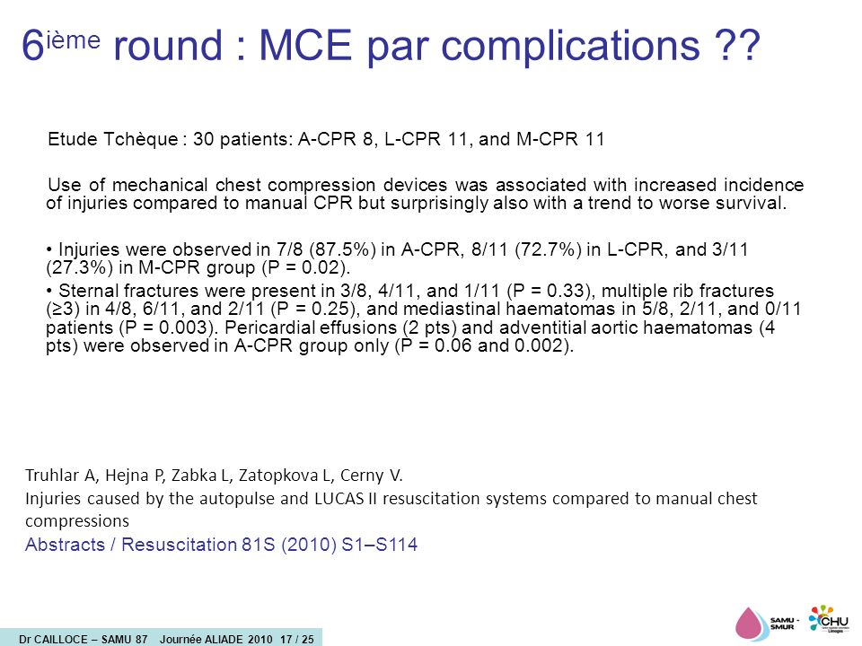 Dr CAILLOCE – SAMU 87 Journée ALIADE 2010 17 / 25 Etude Tchèque : 30 patients: A-CPR 8, L-CPR 11, and M-CPR 11 Use of mechanical chest compression dev