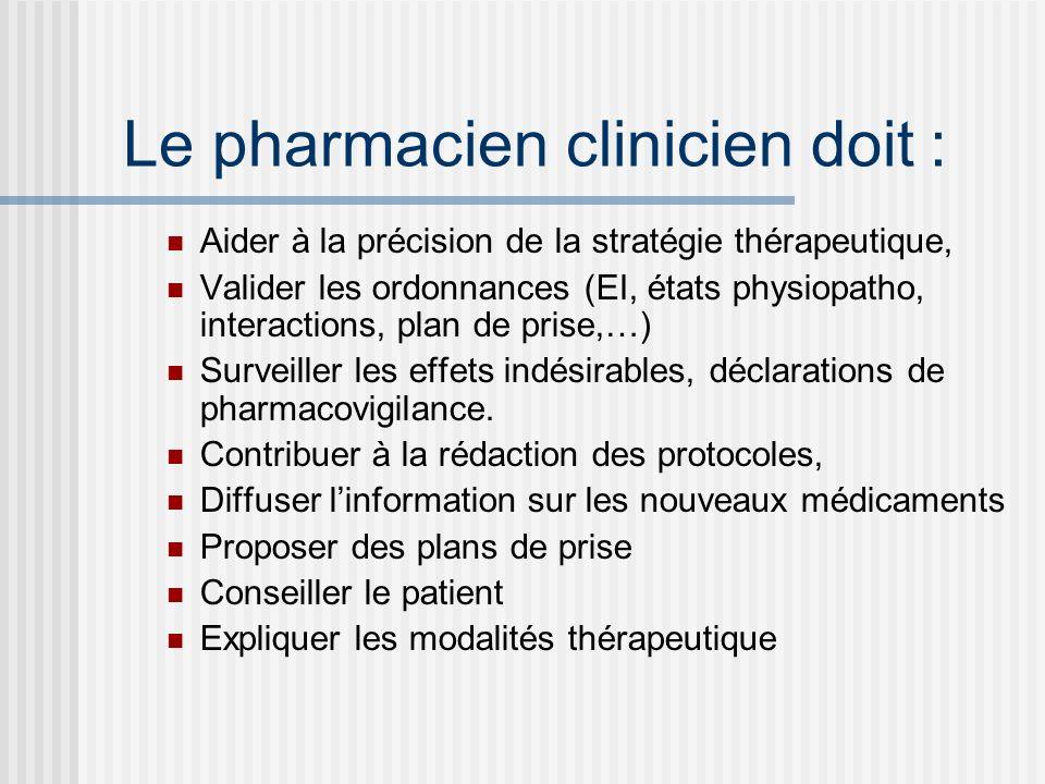 Le pharmacien clinicien doit : Aider à la précision de la stratégie thérapeutique, Valider les ordonnances (EI, états physiopatho, interactions, plan