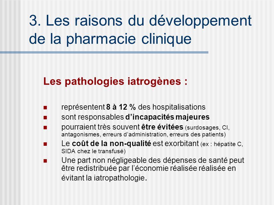 3. Les raisons du développement de la pharmacie clinique Les pathologies iatrogènes : représentent 8 à 12 % des hospitalisations sont responsables din