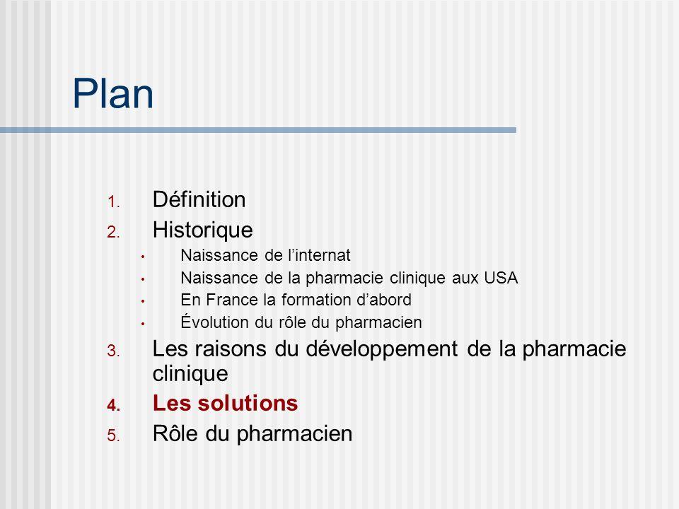 Plan 1. Définition 2. Historique Naissance de linternat Naissance de la pharmacie clinique aux USA En France la formation dabord Évolution du rôle du