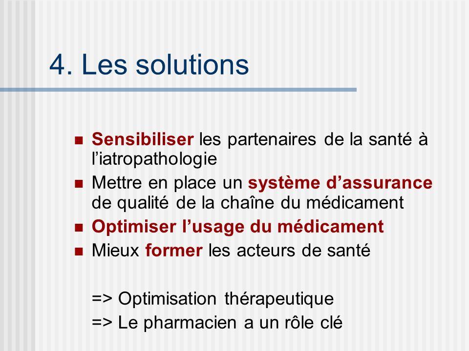 4. Les solutions Sensibiliser les partenaires de la santé à liatropathologie Mettre en place un système dassurance de qualité de la chaîne du médicame