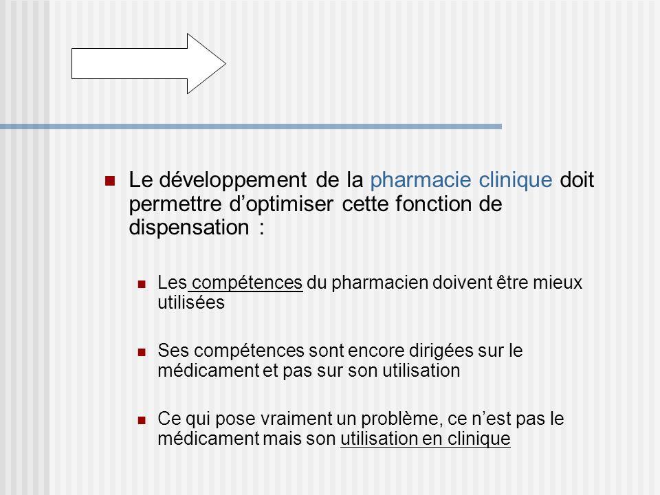 Le développement de la pharmacie clinique doit permettre doptimiser cette fonction de dispensation : Les compétences du pharmacien doivent être mieux