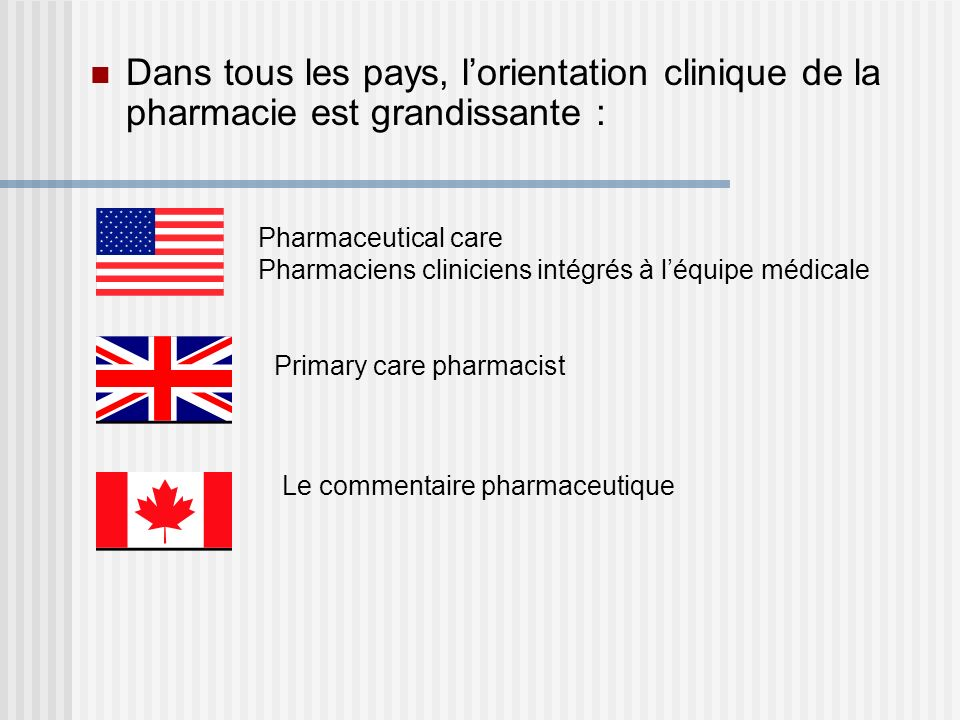 Dans tous les pays, lorientation clinique de la pharmacie est grandissante : Pharmaceutical care Pharmaciens cliniciens intégrés à léquipe médicale Pr