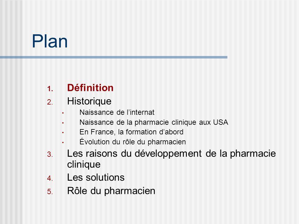 Plan 1. Définition 2. Historique Naissance de linternat Naissance de la pharmacie clinique aux USA En France, la formation dabord Évolution du rôle du