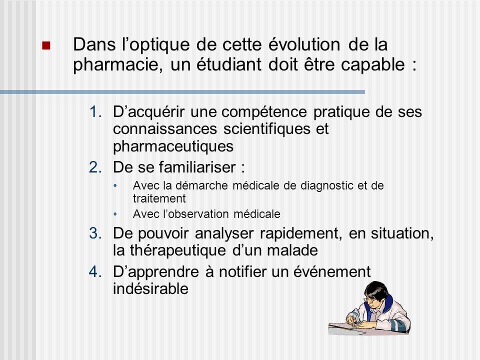 Dans loptique de cette évolution de la pharmacie, un étudiant doit être capable : 1.Dacquérir une compétence pratique de ses connaissances scientifiqu