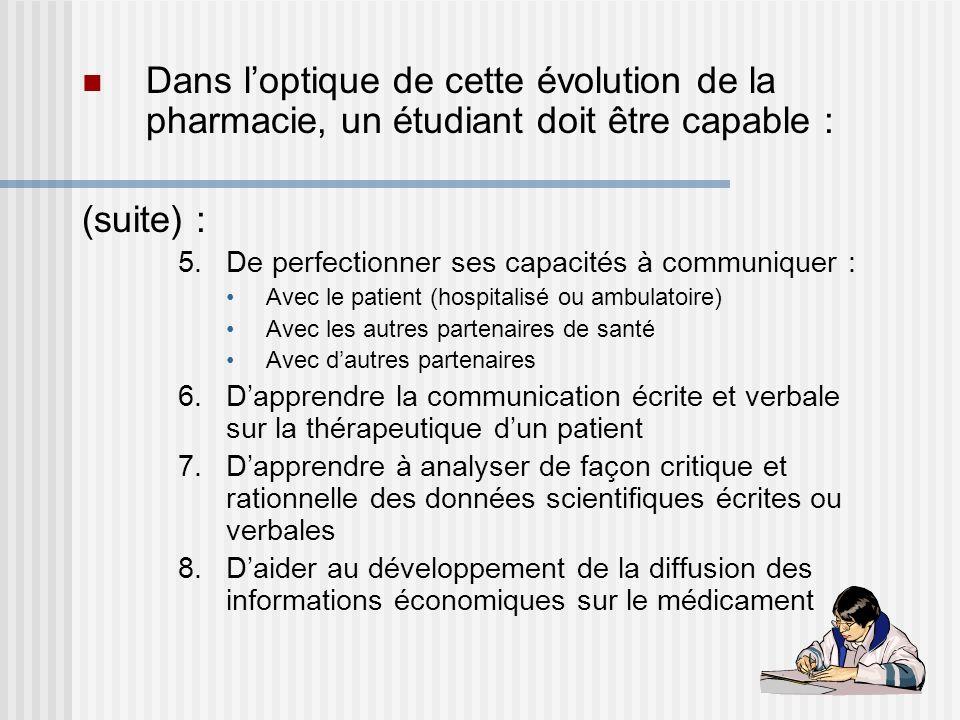 Dans loptique de cette évolution de la pharmacie, un étudiant doit être capable : (suite) : 5.De perfectionner ses capacités à communiquer : Avec le p