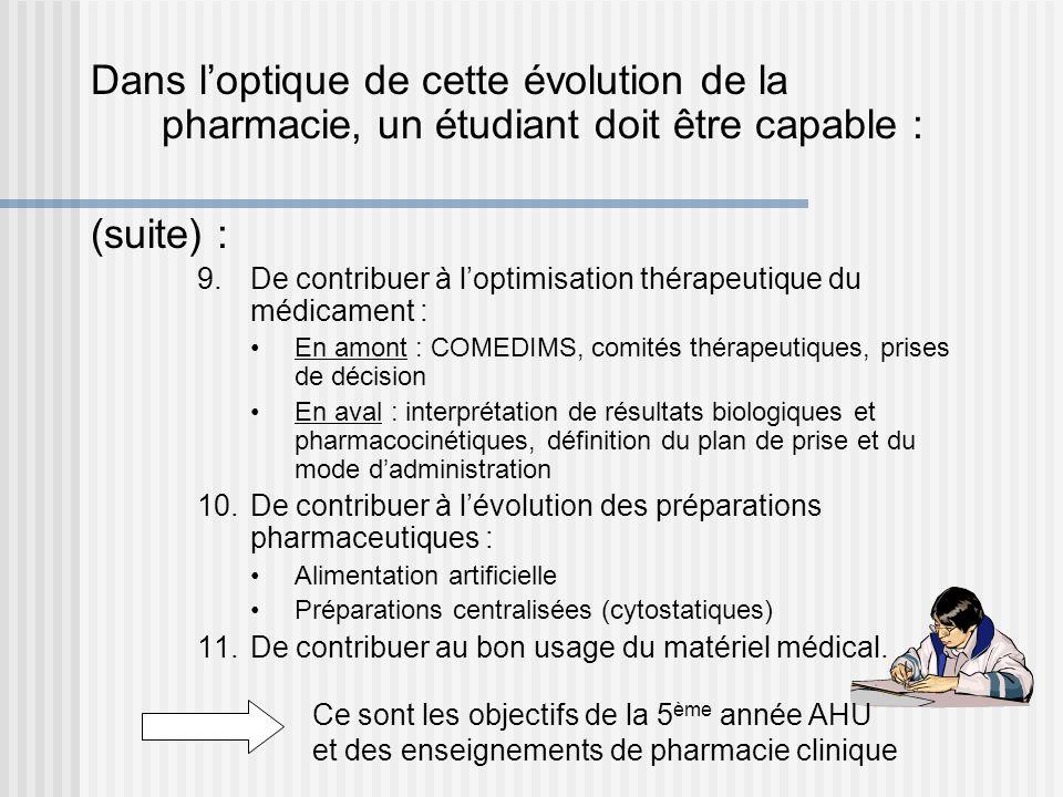 Dans loptique de cette évolution de la pharmacie, un étudiant doit être capable : (suite) : 9.De contribuer à loptimisation thérapeutique du médicamen