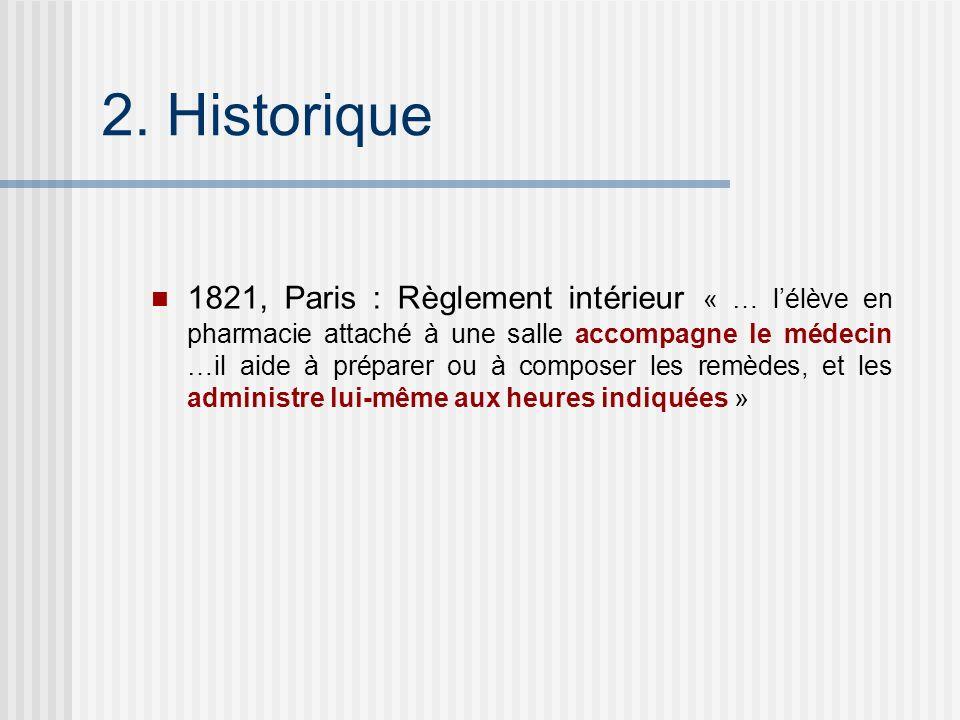 1821, Paris : Règlement intérieur « … lélève en pharmacie attaché à une salle accompagne le médecin …il aide à préparer ou à composer les remèdes, et
