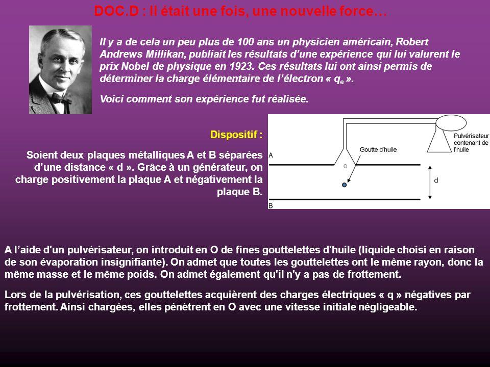 DOC.D : Il était une fois, une nouvelle force… Il y a de cela un peu plus de 100 ans un physicien américain, Robert Andrews Millikan, publiait les rés