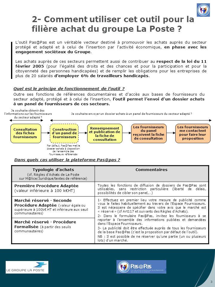 2- Comment utiliser cet outil pour la filière achat du groupe La Poste ? Loutil Pas@Pas est un véritable vecteur destiné à promouvoir les achats auprè