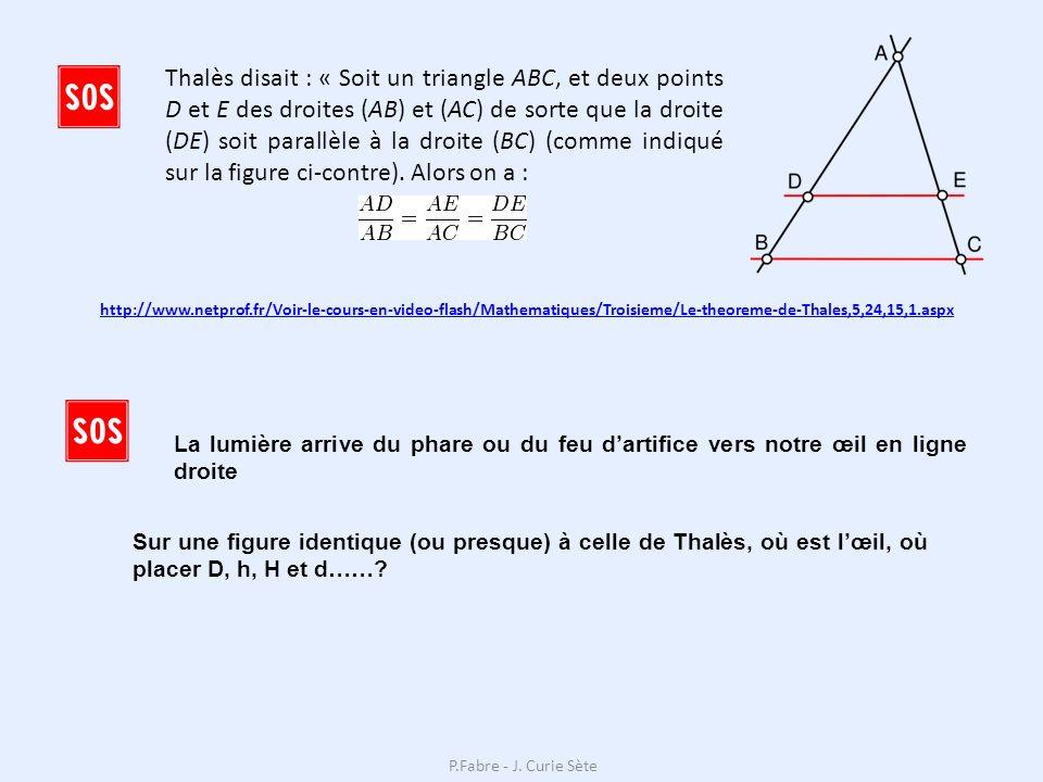Thalès disait : « Soit un triangle ABC, et deux points D et E des droites (AB) et (AC) de sorte que la droite (DE) soit parallèle à la droite (BC) (comme indiqué sur la figure ci-contre).