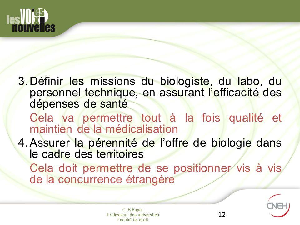 C. B Esper Professeur des universités Faculté de droit 12 3.Définir les missions du biologiste, du labo, du personnel technique, en assurant lefficaci