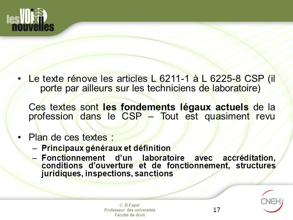 C. B Esper Professeur des universités Faculté de droit 17 Le texte rénove les articles L 6211-1 à L 6225-8 CSP (il porte par ailleurs sur les technici