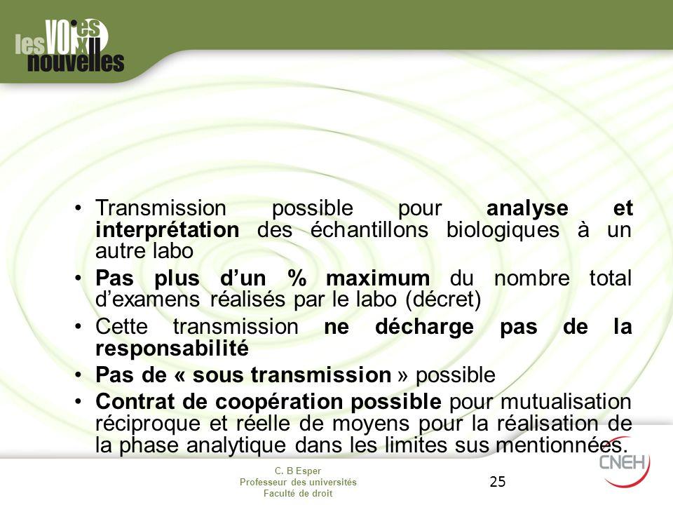 C. B Esper Professeur des universités Faculté de droit 25 Transmission possible pour analyse et interprétation des échantillons biologiques à un autre