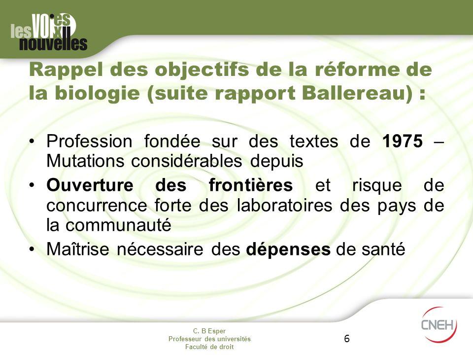 C. B Esper Professeur des universités Faculté de droit 6 Rappel des objectifs de la réforme de la biologie (suite rapport Ballereau) : Profession fond