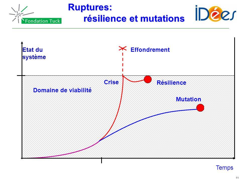 11 Temps Etat du système Domaine de viabilité Résilience Effondrement CriseRuptures: résilience et mutations résilience et mutations Mutation