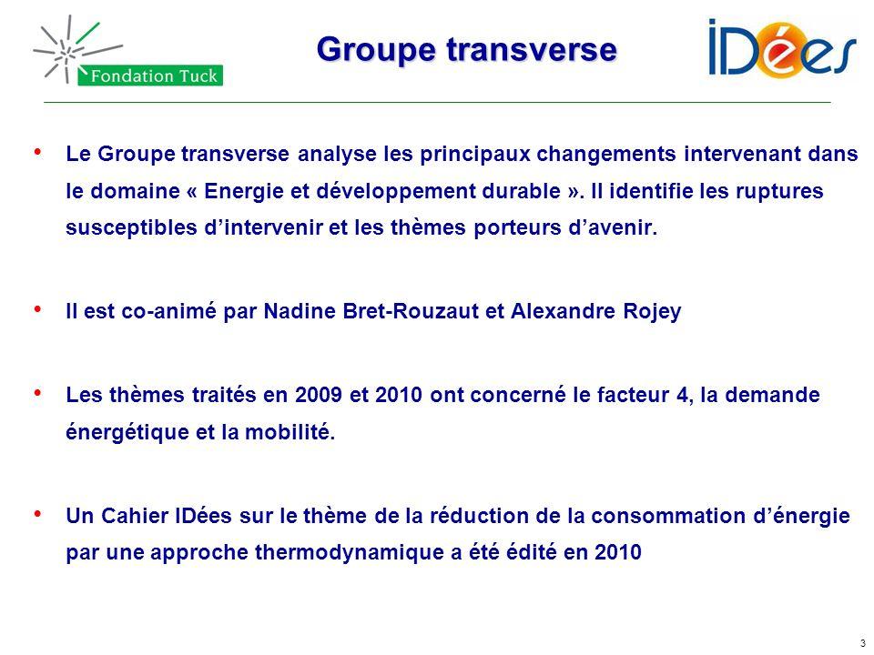 3 Groupe transverse Le Groupe transverse analyse les principaux changements intervenant dans le domaine « Energie et développement durable ». Il ident