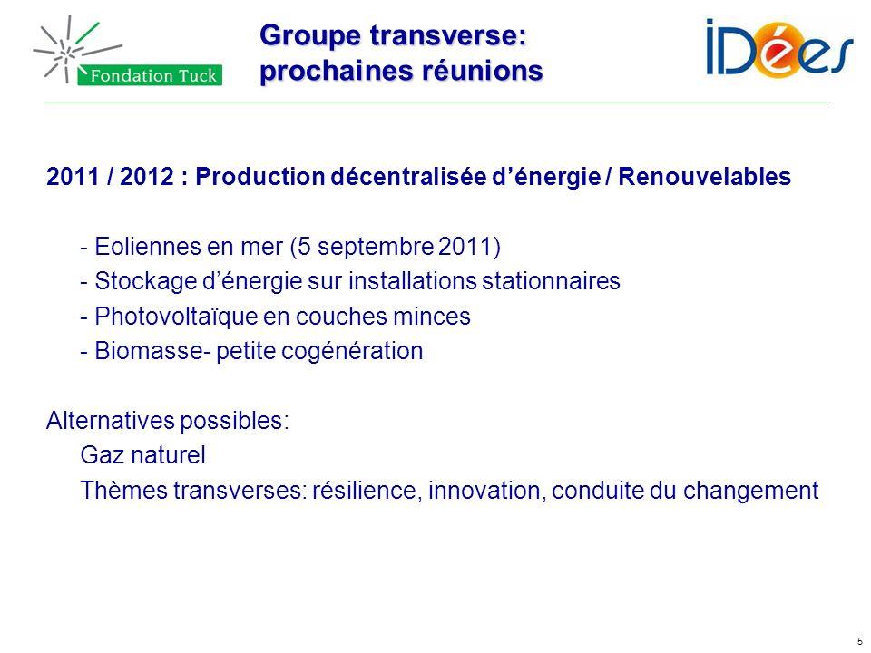 5 Groupe transverse: prochaines réunions 2011 / 2012 : Production décentralisée dénergie / Renouvelables - Eoliennes en mer (5 septembre 2011) - Stock