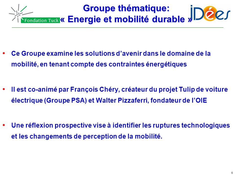 6 Groupe thématique: « Energie et mobilité durable » Ce Groupe examine les solutions davenir dans le domaine de la mobilité, en tenant compte des cont