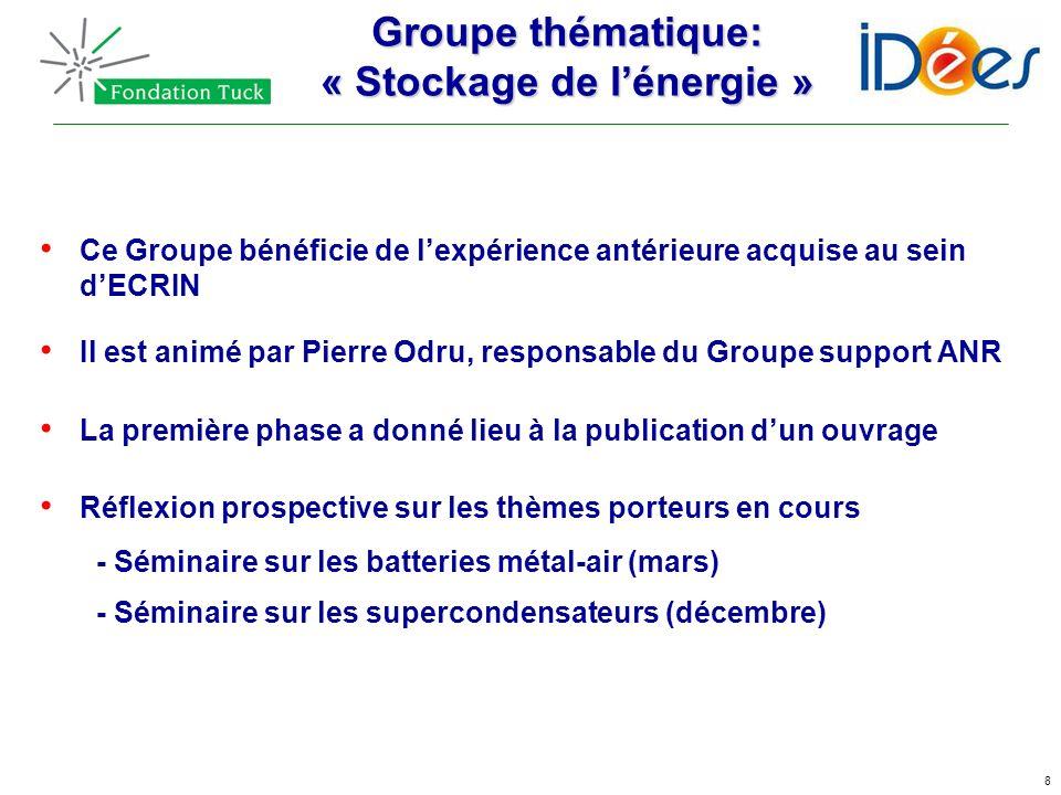8 Groupe thématique: « Stockage de lénergie » Ce Groupe bénéficie de lexpérience antérieure acquise au sein dECRIN Il est animé par Pierre Odru, respo