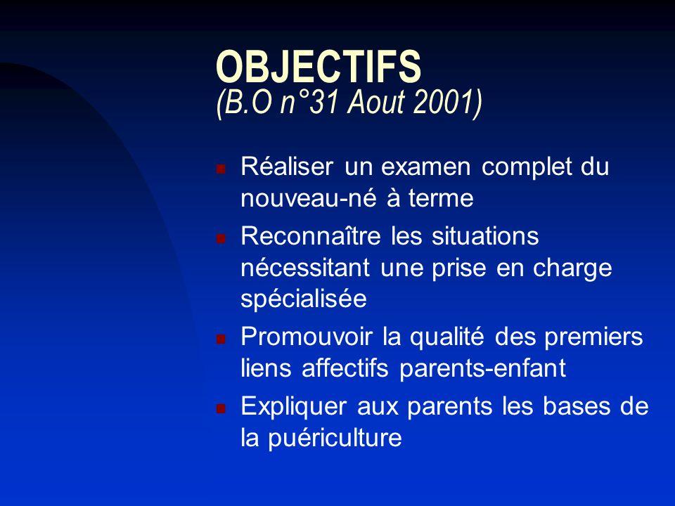 OBJECTIFS (B.O n°31 Aout 2001) Réaliser un examen complet du nouveau-né à terme Reconnaître les situations nécessitant une prise en charge spécialisée