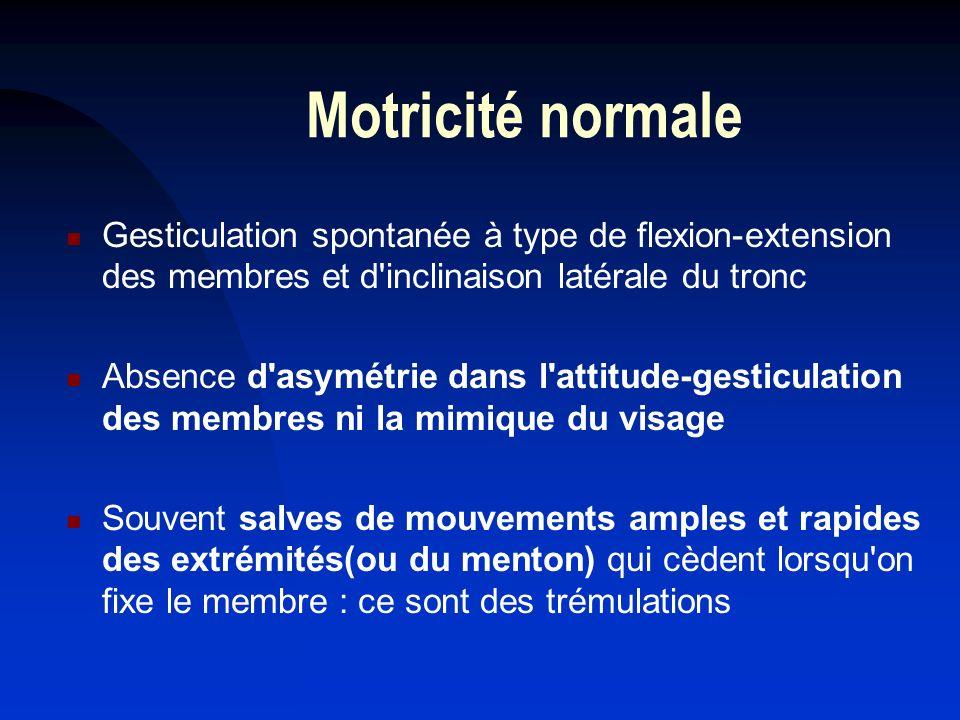 Motricité normale Gesticulation spontanée à type de flexion-extension des membres et d'inclinaison latérale du tronc Absence d'asymétrie dans l'attitu