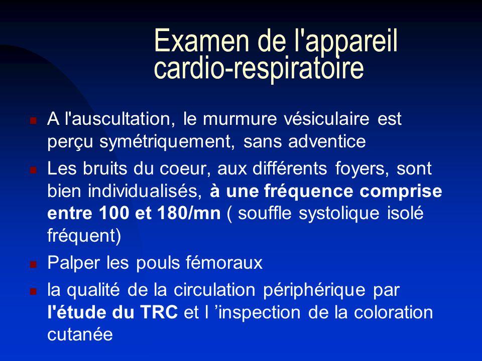 Examen de l'appareil cardio-respiratoire A l'auscultation, le murmure vésiculaire est perçu symétriquement, sans adventice Les bruits du coeur, aux di