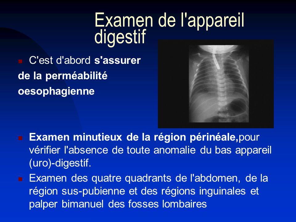 Examen de l'appareil digestif C'est d'abord s'assurer de la perméabilité oesophagienne Examen minutieux de la région périnéale,pour vérifier l'absence