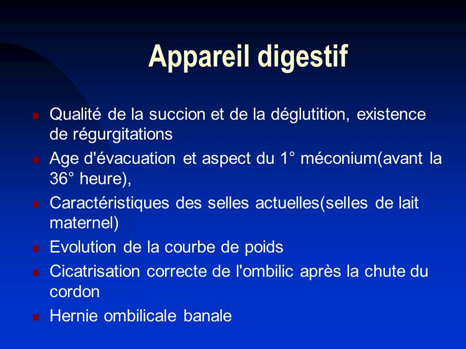 Appareil digestif Qualité de la succion et de la déglutition, existence de régurgitations Age d'évacuation et aspect du 1° méconium(avant la 36° heure