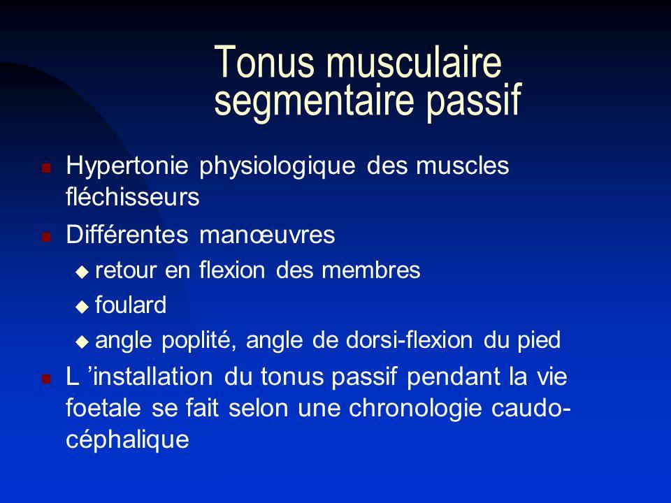 Tonus musculaire segmentaire passif Hypertonie physiologique des muscles fléchisseurs Différentes manœuvres retour en flexion des membres foulard angl